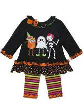 RARE EDITIONS HALLOWEEN GHOST DANCING STRIPE TUTU DRESS LEGGING 12M-6X-F395395