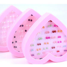 36 pairs Women Simple Mini Round Pearl Ear Studs Earrings Jewelry with case