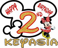 Easy Iron on Minnie Mouse T Shirt transfer Minnie Mouse Ears Gold and black