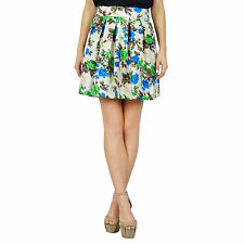 Bimba Women Floral Box Pleated Mini Skirt Retro Pattern Short Skirt