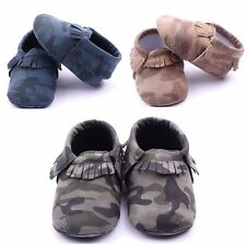 Camo Tassel Baby Soft Leather Shoes Boy Girl Infant Toddler Crib Moccasins 0-18M