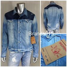 NWT $349 TRUE RELIGION JIMMY AZRL BACKBEAT Men's Blue Denim JACKET Size M, L, XL
