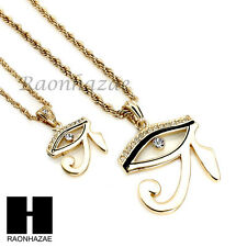 """ICED OUT EYE OF HORUS HERU EGYPTIAN PENDANT W/ 22"""" 26"""" ROPE CHAIN NECKLACE SET31"""
