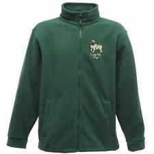 MENS FLEECE embroidered with dog design   PUG     6 colours 6 sizes BNWT