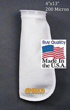 """Filter Sock 4 """" x 13"""" 200 micron Polyester, High Quality Made in USA"""