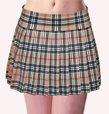 "PLUS SIZE TAN COFFEE STRETCH LYCRA SCHOOLGIRL PLEATED TARTAN PLAID MINI 14""-15"""