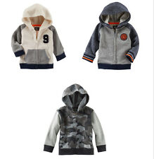 Oshkosh Baby Boys Gray CAMO ColorBlock French Terry Hoodie 3M 12M 18M NWT