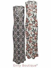 Ladies Womens Printed Maxi Dress Racer Back Vest Sleeveless Stretch Long Bodycon