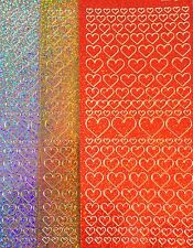 Sparkly Love Heart Peel Off Sticker Sheet Card Making Craft BUY 4 GET 1 FREE