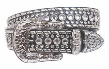 Western Rhinestone Silver Studded Genuine Leather Belt