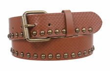 Snap on Snake Print Metal Circle Studded Leather Belt