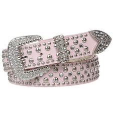 Western Rhinestone & Punched-in studded Genuine Leather Belt