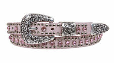 Western Skinny Rhinestone Punched-in Studded Genuine Leather Belt