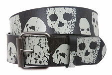 Snap On Skull and Cross Bone Art Work Leather Belt - Interchangeable buckle