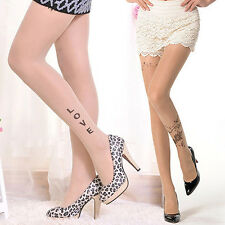 Women's Tattoo Pattern Transparent Sheer Pantyhose Tights Stockings New Trendy