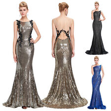 New Brand Pale Golden Shining Sequins Ball Gown Evening Prom Wedding Party Dress