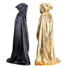 Black Satin Hooded Cloak Halloween Coat Witch Wizard Wicca Robe Gothic Costumes