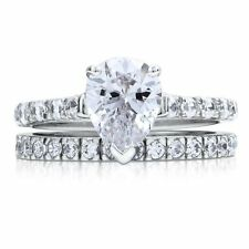 Sterling Silver 2.4 ct.tw Pear Cubic Zirconia CZ Solitaire Engagement Wedding