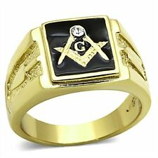 Men's Stainless Steel 14K Gold Ion Plated Crystal Masonic Lodge Freemason Ring