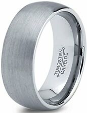 Tungsten Wedding Band Ring 7mm for Men Women Comfort Fit Domed Round Brushed