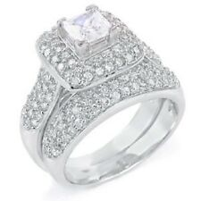 Sterling Silver Pave Set Round Cz Ring Set with a 5MMx5MM Princess Cut Cz i 124
