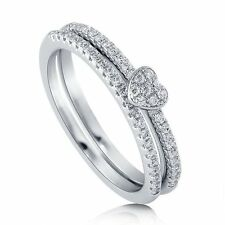 Sterling Silver 0.24 ct.tw Cubic Zirconia CZ Heart Wedding Bridal Ring Set