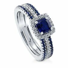 Sterling Silver Cushion Simulated Blue Sapphire Cubic Zirconia CZ Halo Sta 258