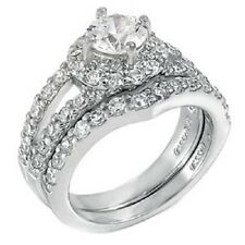 Sterling Silver Round Cz Ring Set with Round Cut Cz in the Center, Ring Wid 148