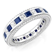925 Sterling Silver Princess Cut Blue & White Cubic Zirconia CZ Eternity Band R