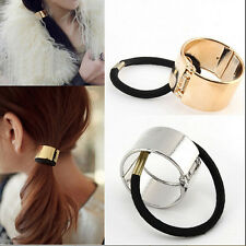 New Women Hair Cuff Wrap Ponytail Metal Holder Ring Tie Elastic Hair Band Rope L