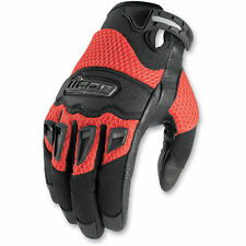 NEW ICON TWENTY-NINERS RED MENS ADULT STREET BIKE MOTORCYCLE RIDING GLOVES