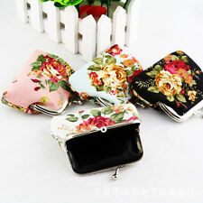 Womens Girls Small Wallet Change Coin Purse Clasp Clutch Holder Floral Handbags