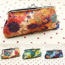 Womens Girls Clasp Wallet Change Coin Floral Long Purse Clutch Holder Handbag