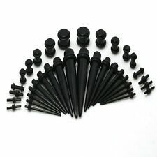 18 Or 36Pcs Black 14G-00G Tapers Straight Plugs Acrylic Ear Stretching Kit Punk