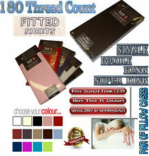 FITTED SHEETS PERCALE 180 THREAD COUNT NON IRON SINGLE DOUBLE KING SUPER KING