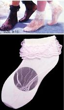 Girls Lace Ankle Socks In Pink - Size: 9-11 Wholesale 6 Pairs Lot (EHS901P#)