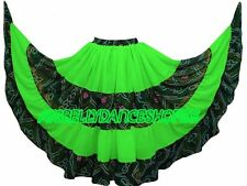 Parrot Green ATS Belly Dance Tribal Fusion Chiffon Gypsy 25 Yard Skirts Jaipur