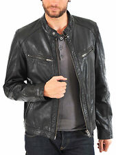 Mens Leather Jacket Black Slim fit Biker Motorcycle Genuine Leather Jacket MJ569