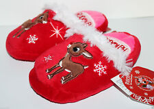 Rudolph Red Nosed Reindeer NWT Girl's 5 6 7 8 Clarice Christmas Slippers Scuffs
