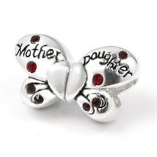 Sterling Silver Butterfly Mother Daughter Love CZ Crystal European Bead Charm