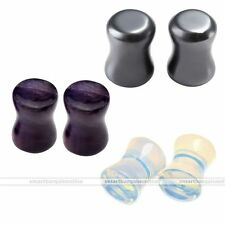 6pcs Amethyst Opalite Hematite Ear Double Flared Plugs Stretcher Gauges Piercing