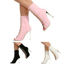 WOMENS LADIES LACE UP PEEP TOE  HIGH HEEL ANKLE CALF BOOTS SHOES SIZE 3-8