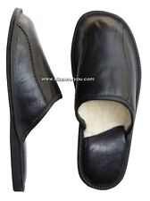 New Black Mens Leather Slippers Lambswool Shoes Wool Sheepskin UK size 6 8 9-11