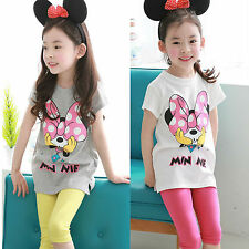 Kids Girls Minnie T-shirt Outfits Clothes Tops Pants Trousers Leisure Clothing