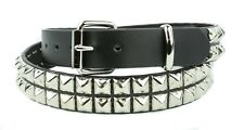 Double Row Steel Pyramid Stud Leather Belt Heavy Duty USA Made Punk Goth Plus