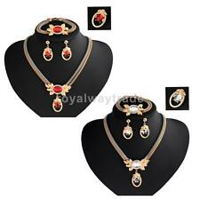Wedding Bridal Rhinestone Crystal Necklace Earrings Bracelet Brooch Jewelry Set