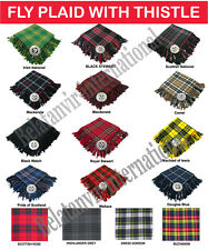 Scottish Highland Kilt Fly Plaid with Thistle Brooch All colors are available
