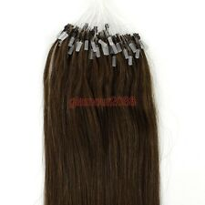 Easy Micro Ring Loop Tip Remy Human Hair Extension Straight Chestnut Brown 100s
