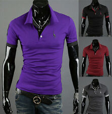 Casual Style Short Sleeve Fashion Tops Tee New Mens POLO Shirt T-shirt Slim Fit