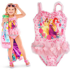 DISNEY STORE 3 PRINCESS BELLE ARIEL RAPUNZEL DELUXE SWIMSUIT GIRLS 1PC 5/6 7/8